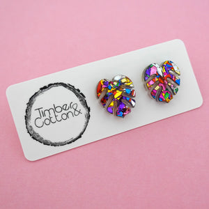 Monstera Leaf 'Rainbow Confetti' Stud Earrings- Timber & Cotton