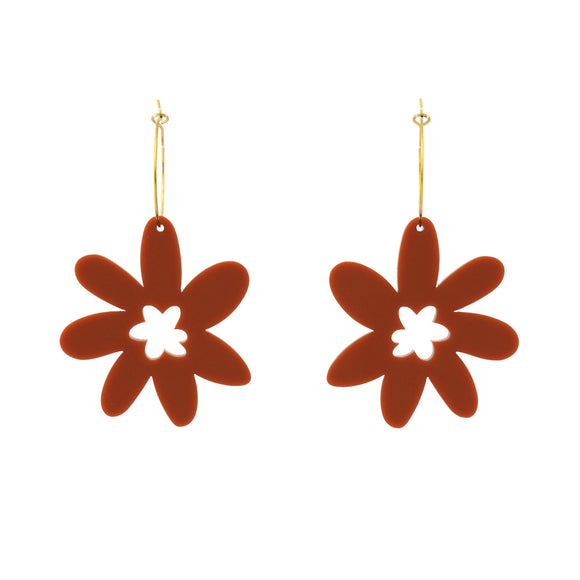 Flower 'Rust' Hoop Dangle Earrings- Timber & Cotton