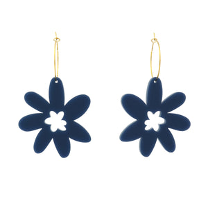 Flower 'Greyish Blue' Hoop Dangle Earrings- Timber & Cotton
