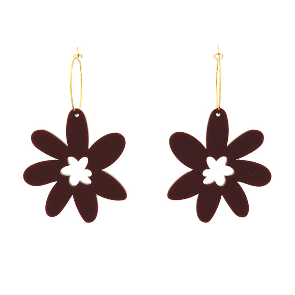Flower 'Maroon' Hoop Dangle Earrings- Timber & Cotton