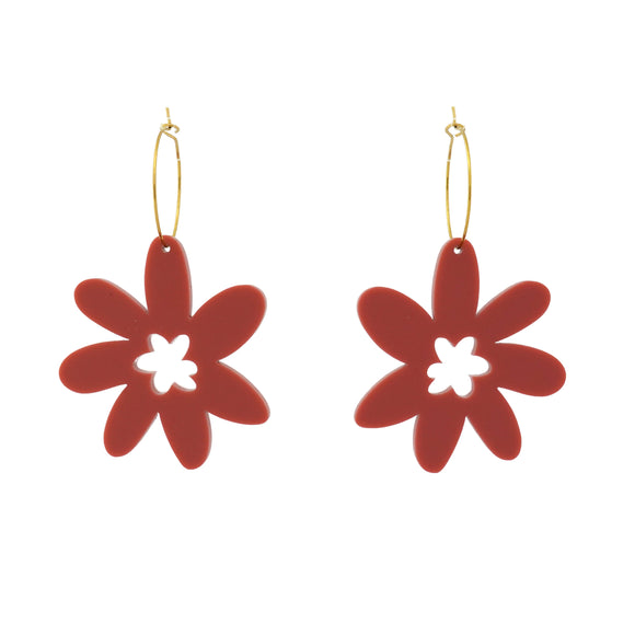 Flower 'Dusty Pink' Hoop Dangle Earrings- Timber & Cotton