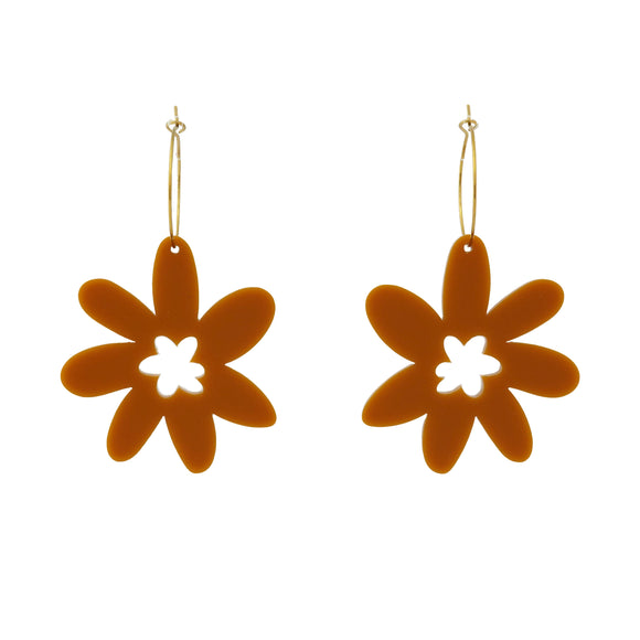 Flower 'Mustard Yellow' Hoop Dangle Earrings- Timber & Cotton