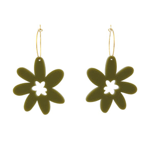 Flower 'Olive Green' Hoop Dangle Earrings- Timber & Cotton
