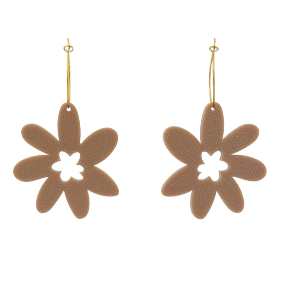 Flower 'Glitter Beige' Hoop Dangle Earrings- Timber & Cotton