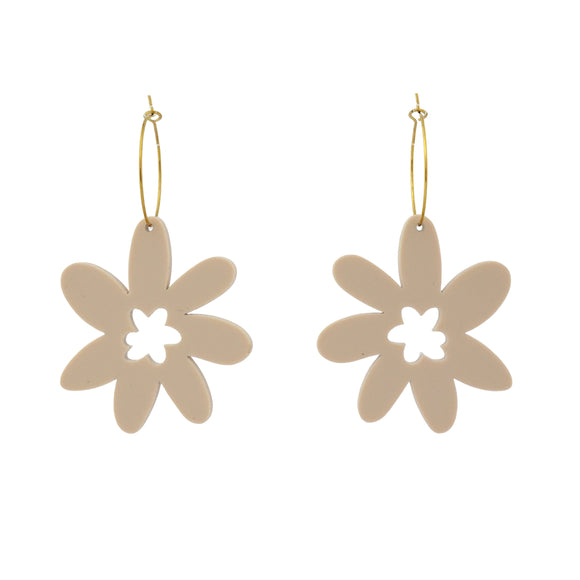 Flower 'Cream White' Hoop Dangle Earrings- Timber & Cotton