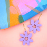 Flower 'Lilac Purple' Hoop Dangle Earrings- Timber & Cotton