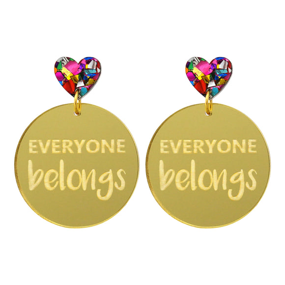 Harmony Day 'Everyone Belongs' Gold Mirror Dangle Earrings - Timber & Cotton
