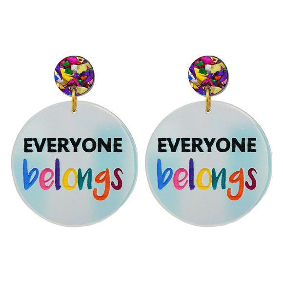 Harmony Day 'Everyone Belongs' Holographic Dangle Earrings - Timber & Cotton