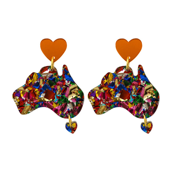 Harmony Day Rainbow Foil Australia Dangle Earrings - Timber & Cotton