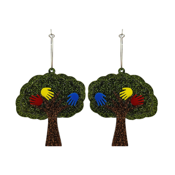 Harmony Day Hand Print Tree Dangle Earrings - Timber & Cotton