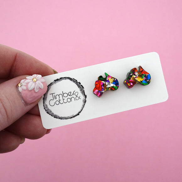 Harmony Day Rainbow Foil Australia Stud Earrings - Timber & Cotton