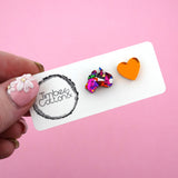 Harmony Day Mismatch Rainbow Foil Australia & Orange Mirror Heart Stud Earrings - Timber & Cotton