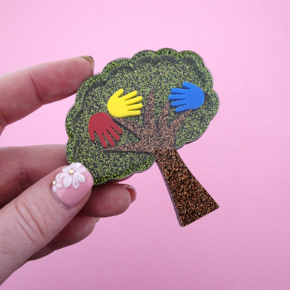 Harmony Day Hand Print Tree Brooch - Timber & Cotton