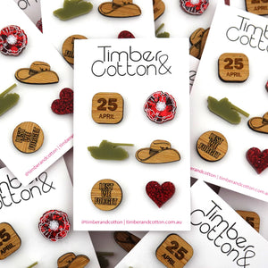 Remembrance Mismatch Stud Earrings Pack - Timber & Cotton