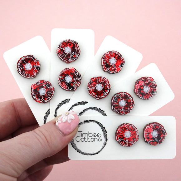 Printed Poppy Stud Earrings - Timber & Cotton