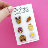 Easter Bunny Egg Hunt Mismatch Stud Earrings Pack - Timber & Cotton