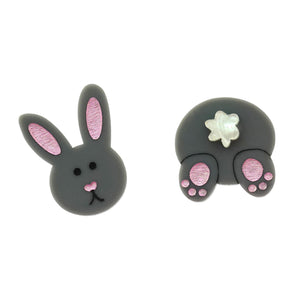 Mismatch Easter Bunny 'Grey' Statement Stud Earrings - Timber & Cotton