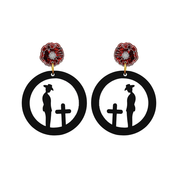 Solemn Soldier Silhouette with Poppy Dangle Earrings - Timber & Cotton