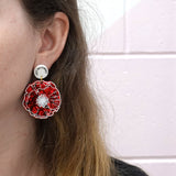 Lest We Forget Poppy 'Red Flake Glitter' Printed Dangle Earrings - Timber & Cotton