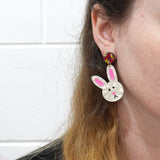 Mismatch Easter Bunny 'White Ripple Glitter' Dangle Earrings - Timber & Cotton