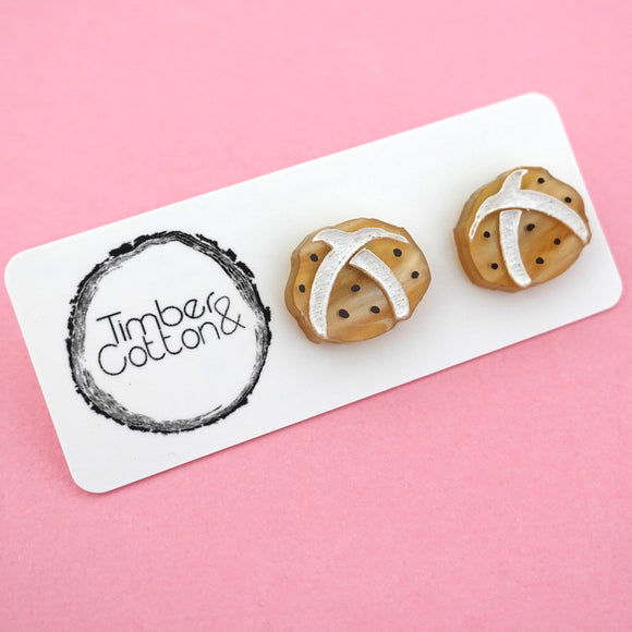 Hot Cross Buns Stud Earrings - Timber & Cotton