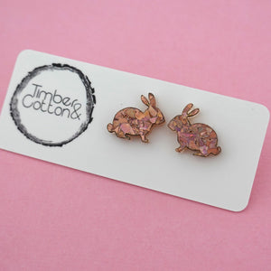 Easter Bunny 'Holographic Rose Gold Flake' Stud Earrings - Timber & Cotton