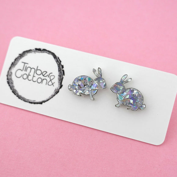 Easter Bunny 'Holographic Silver Flake' Stud Earrings - Timber & Cotton