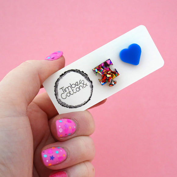 Autism Mismatch Puzzle & Heart Stud Earrings - Timber & Cotton
