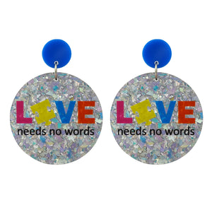 Autism 'Love Needs No Words' Holographic Silver Flake Dangle Earrings - Timber & Cotton