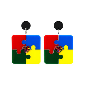 Autism Multicoloured Puzzle Dangle Earrings - Timber & Cotton