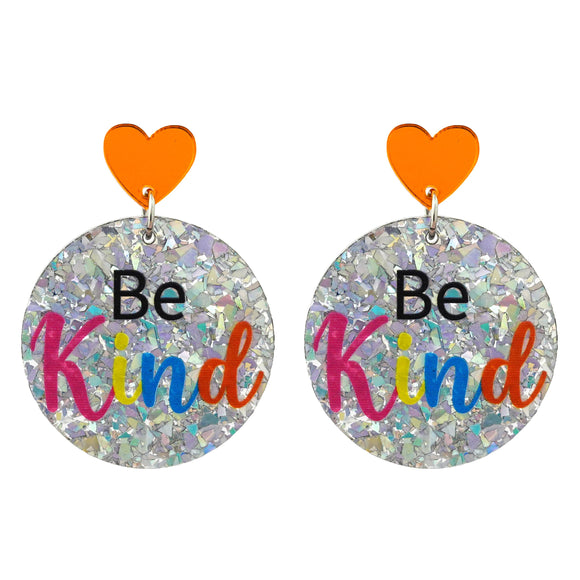 Autism 'Be Kind' Holographic Silver Flake Dangle Earrings - Timber & Cotton