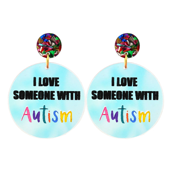 'I Love Someone With Autism' Iridescent Dangle Earrings - Timber & Cotton