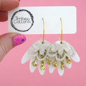 Matte White, Gold and Silver Flake & White Ripple Glitter Blooming Delight Hoop Dangle Earrings- Timber & Cotton