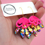 Rainbow Foil, Gold Mirror & Hot Pink Blooming Delight Hoop Dangle Earrings- Timber & Cotton
