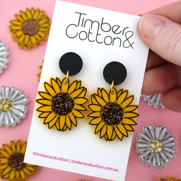 Sunflower 'Stud top' Dangle Earrings (CHOOSE SIZE) - Timber & Cotton