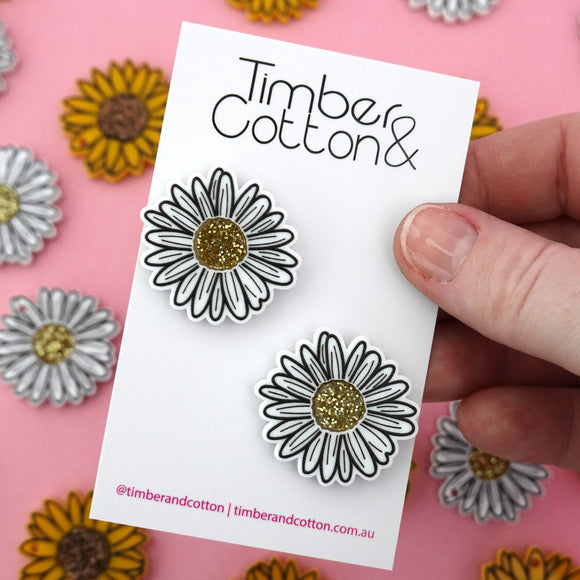 Daisy Statement Stud Earrings - Timber & Cotton