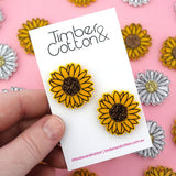 Sunflower Statement Stud Earrings - Timber & Cotton