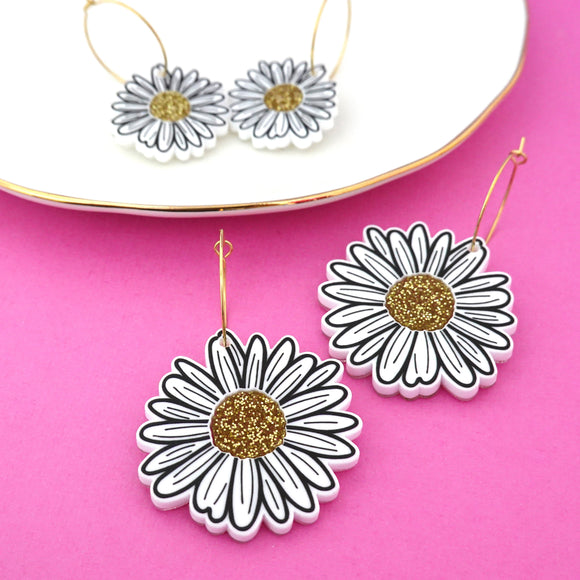 Daisy 'Hoop' Dangle Earrings (CHOOSE SIZE) - Timber & Cotton
