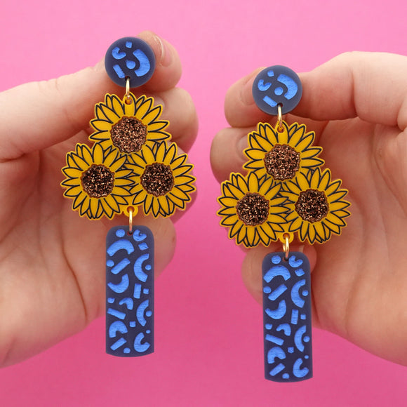 Vase of Sunflowers 'Blue' Dangle Earrings - Timber & Cotton