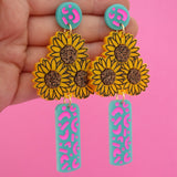 Vase of Sunflowers 'Turquoise & Neon Pink' Dangle Earrings - Timber & Cotton
