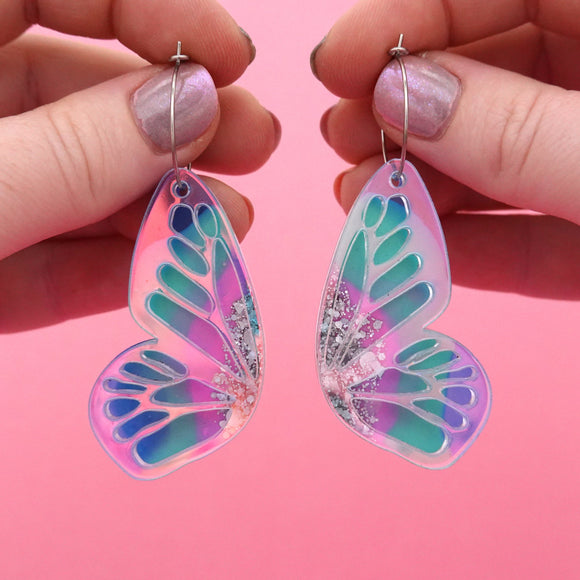 Butterfly Hoop Earrings 'Resin Colour 3' - Timber & Cotton