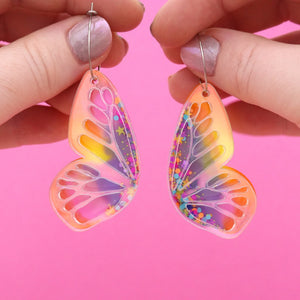 Butterfly Hoop Earrings 'Resin Colour 4' - Timber & Cotton