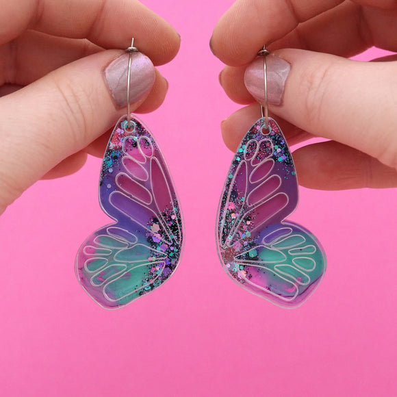 Butterfly Hoop Earrings 'Resin Colour 11' - Timber & Cotton