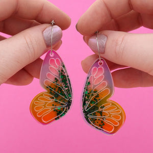 Butterfly Hoop Earrings 'Resin Colour 8' - Timber & Cotton