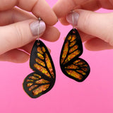 Black & Flame Flake Butterfly Hoop Earrings - Timber & Cotton