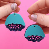 Turquoise, Pink & Holographic Navy Glitter Peony Hoop Dangle Earrings- Timber & Cotton