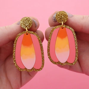 Gold Glitter, Coral & Pastel Sunset Tulip Resin Gradient Dangle Earrings - Timber & Cotton