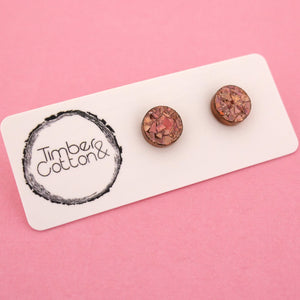 10mm 'Holographic Rose Gold Flake' Circle Stud Earrings - Timber & Cotton