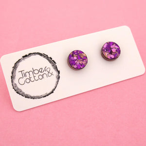 10mm 'Unicorn Flake' Circle Stud Earrings - Timber & Cotton