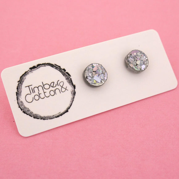 10mm 'Holographic Silver Flake' Circle Stud Earrings - Timber & Cotton